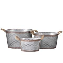 Metal Oval Basket with Tapered Bottom,2 Rope Handles and Cut