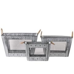 Metal Rectangular Basket with Tapered Bottom, 2 Rope Handles