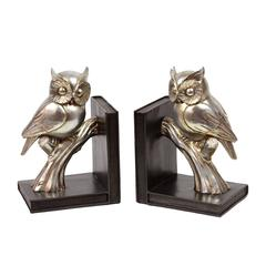Resin Owl on a Branch on Base Bookend Set of Two Coated Finish Gold