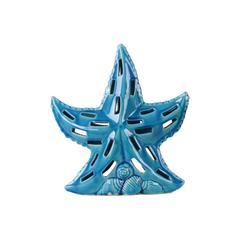 Ceramic Sea Star Figurine with Cutout Design on Shell Base LG Gloss Finish Turquoise