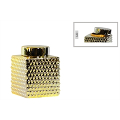 Ceramic Short Square 100 oz. Canister with Round Lid and Embossed Polygonal Design SM Polished Chrome Finish Gold