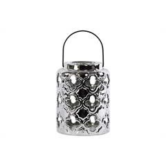 Ceramic Round Lantern with Quatrefoil Cutouts and Black Metal Handle Polished Chrome Finish Silver