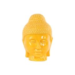 Ceramic Buddha Head with Rounded Ushnisha Gloss Finish Yellow