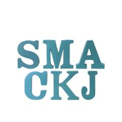 "Metal Alphabet Wall Decor Letter ""SMACKJ"" Assortment of Six SM Coated Finish Blue"