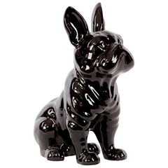 Ceramic Sitting French Bulldog Figurine with Pricked Ears Gloss Finish Black