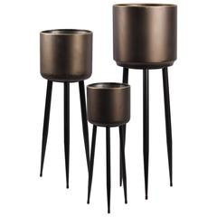 Metal Round Plant Stand with Gold Edges and 3 Legs Set of Th