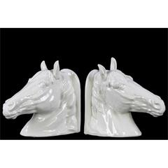 Ceramic Horse Head Bookend Assortment of Two Gloss Finis