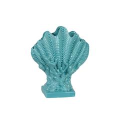 Ceramic Giant Clam Seashell Sculpture on Coral Pedestal Gloss FInish Cyan