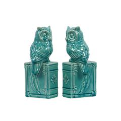 Ceramic Owl on Book Base Bookend Assortment of Two Gloss Finish Turquoise
