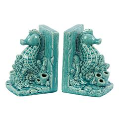 Ceramic Sea Horse on Corals Bookend on Base Set of Two Gloss