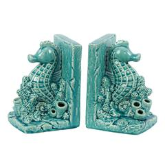Ceramic Sea Horse on Corals Bookend on Base Assortment o