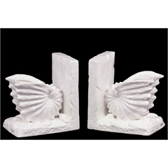 Ceramic Nautilus Seashell Bookend on Base Gloss Finish White