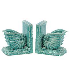 Ceramic Nautilus Seashell Bookend on Base Gloss Finish Turquoise