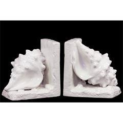 Ceramic Conch Seashell Bookend on Base Gloss Finish White