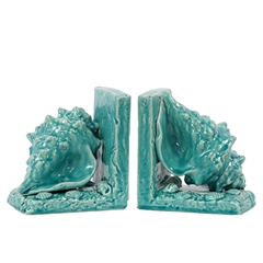 Ceramic Conch Seashell Bookend on Base Set of Two Gloss Finish Turquoise