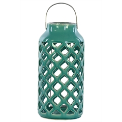 Ceramic Round Lantern with Metal Handle and Diagonal Cutout Design Gloss Finish Turquoise