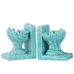 Ceramic Open Valve Clam Seashell on Base Bookend Assortment of Two Gloss Finish Blue