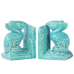 Ceramic Pelican Bird on Base Bookend Assortment of Two Gloss Finish Blue