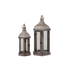 Wood Hexagonal Lantern with Pierced Metal Top and Ring Hanger Set of Two Weathered Finish Dark Taupe Brown