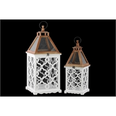 Wood Square Lantern with Lattice Design Body and Glass Top Set of Two Coated Finish White