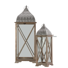 Wood Square Lantern with Pierced Metal Top, Metal Ring Handle and Glass Sides Set of Two Natural Wood Finish Sienna Brown