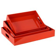 Wood Rectangular Serving Tray with Cutout Handles Set of Three Coated Finish Red Orange