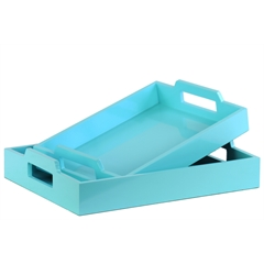 Wood Rectangular Serving Tray with Cutout Handles Set of Two Coated Finish Light Blue