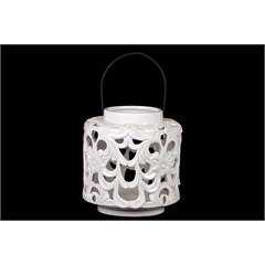 Ceramic Short Round Lantern with Floral Cutout Design and Metal Handle Gloss Finish White