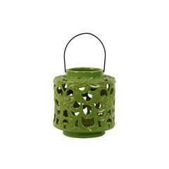 Ceramic Short Round Lantern with Floral Cutout Design and Metal Handle Gloss Finish Olive Green