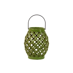 Ceramic Bellied Round Lantern with Diagonal Cutout Design and Metal Handle Gloss Finish Olive Green