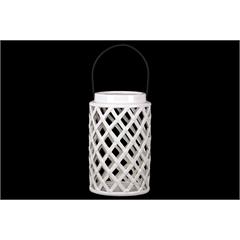 Ceramic Round Lantern with Diagonal Cutout Design and Metal Handle Gloss Finish White