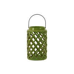 Ceramic Round Lantern with Diagonal Cutout Design and Metal Handle Gloss Finish Olive Green