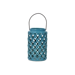 Ceramic Round Lantern with Diagonal Cutout Design and Metal Handle Gloss Finish Steel Blue