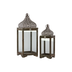 Wood Lantern with Pierced Metal Top and Ring Hanger Set of Two Natural Wood Finish Brown