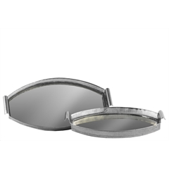Metal Oval Tray with Pierced Metal Frame, Mirror Surface and Handle Set of Two Electroplated Finish Silver