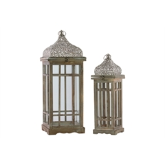 Wood Square Lantern with Silver Pierced Metal Top, Ring Handle, and Window Pane Design Body Set of Two Natural Wood Finish Brown
