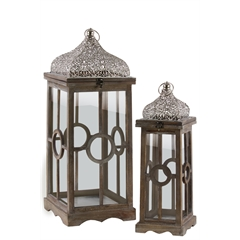 Wood Square Lantern with Silver Pierced Metal Top, Ring Handle, and Center Circle Design Body Set of Two Natural Wood Finish Brown