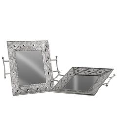 Metal Square Tray with Mirror Surface, Pierced Metal Design Sides and 2 Handles Set of Two Polished Chrome Finish Silver