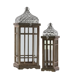 Wood Square Lantern with Silver Pierced Quatrefoil Design Metal Top, Ring Handle, and Window Pane Design Body Set of Two Natural Wood Finish Brown