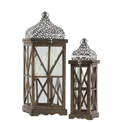 Wood Square Lantern with Silver Pierced Quatrefoil Design Metal Top, Ring Handle, and Criss Cross Design Body Set of Two Natural Wood Finish Brown