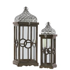 Wood Square Lantern with Silver Pierced Quatrefoil Design Metal Top, Ring Handle, and Center Circle Design Body Set of Two Natural Wood Finish Brown