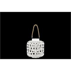 Bamboo Round Lantern with Diamond Cutouts and Hemp Rope Handle Washed Finish White