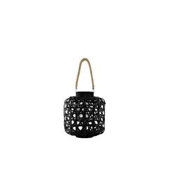 Bamboo Round Lantern with Diamond Cutouts and Chain and Hemp Rope Handle Coated Finish Black
