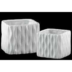 Ceramic Short Square Vase with Embossed Wave Design Body Set of Two Gloss Finish White
