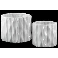 Ceramic Short Round Vase with Embossed Wave Design Body Set of Two Gloss Finish White