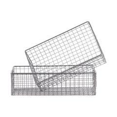 """Metal  Basket Metallic Finish Gray 4.25"""""""