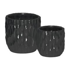 Ceramic Cylindrical Pot with Wide Mouth and Embossed Rectangle Design Body Set of Two Matte Finish Black