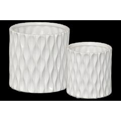 Ceramic Cylindrical Pot wth Wide Mouth and Embossed Wave Design Body Set of Two Matte Finish White