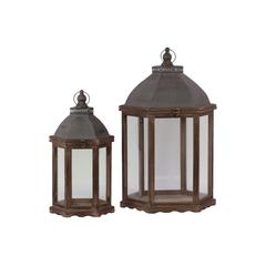 Wood Hexagonal Lantern with C Iron Top, Metal Ring Handle and Glass Sides Set of Two Stained Wood Finish Sienna Brown