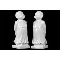 Ceramic Monk Figurine on Base Assortment of Two Gloss Finish White